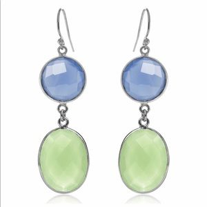 Blue & Green Chalcedony Double Drop Earrings